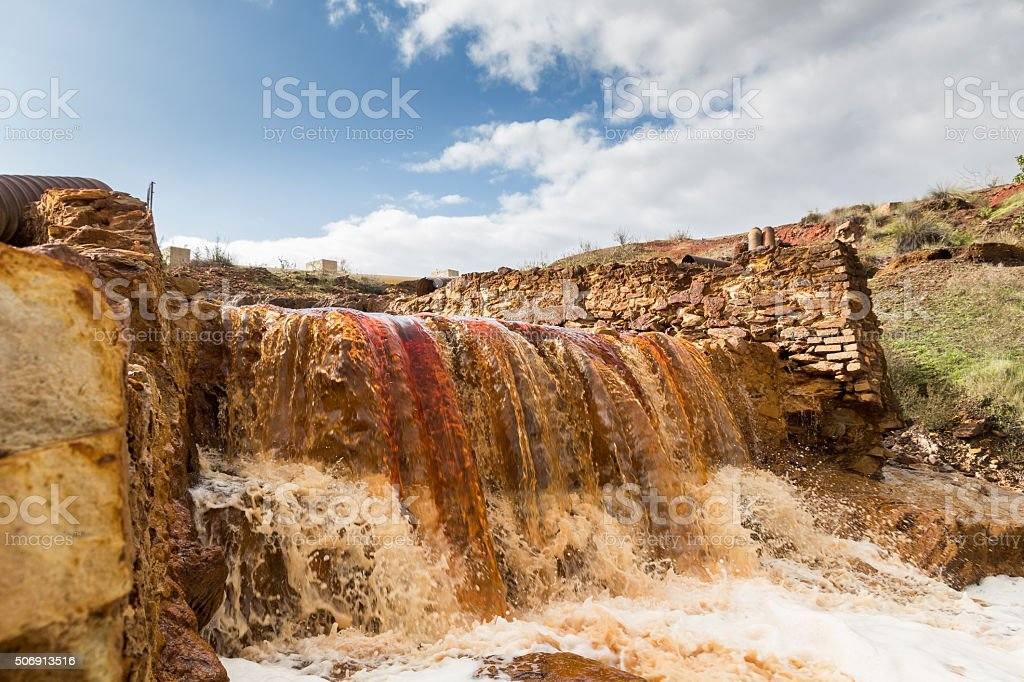 Waterfall in Riotinto mining area, Andalusia, Spain stock photo