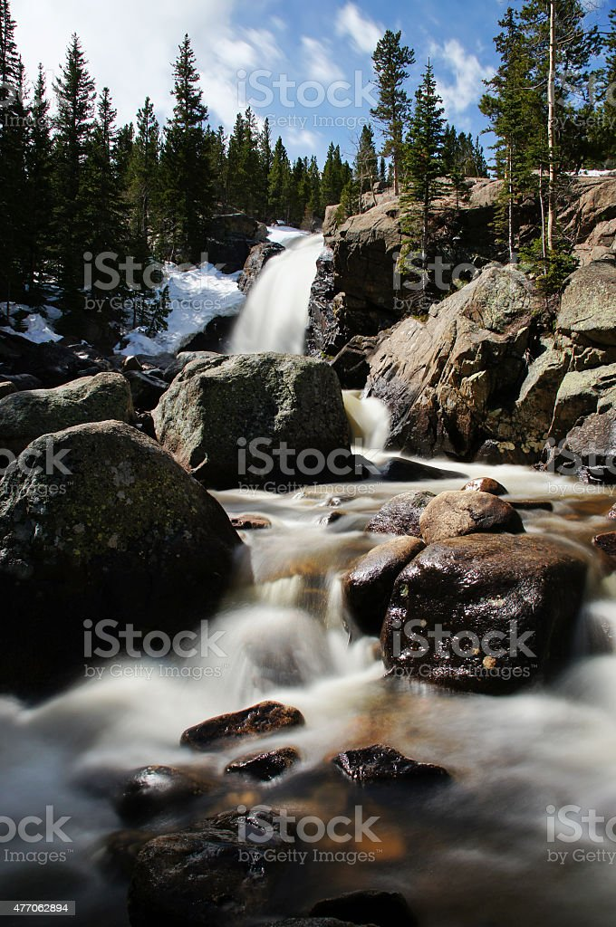 Waterfall in Rocky Mountain National Park stock photo