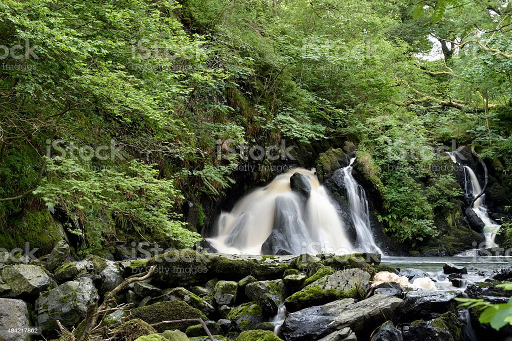 Waterfall in rural Dumfries and Galloway, south west Scotland. stock photo