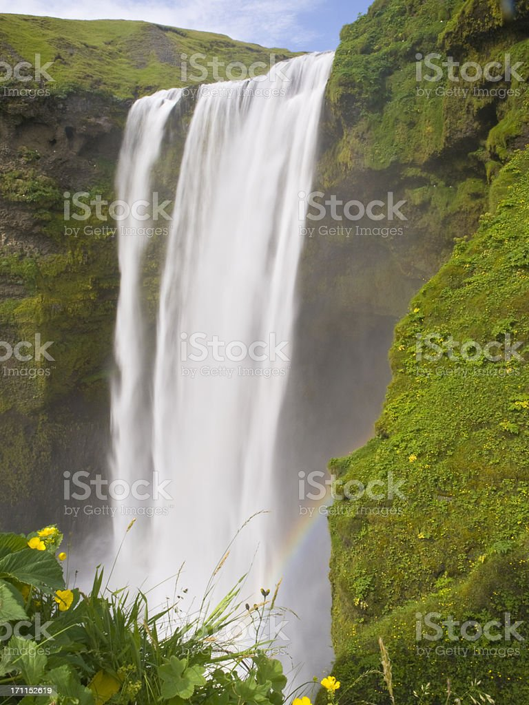 A waterfall in Skogafoss, Iceland.  royalty-free stock photo
