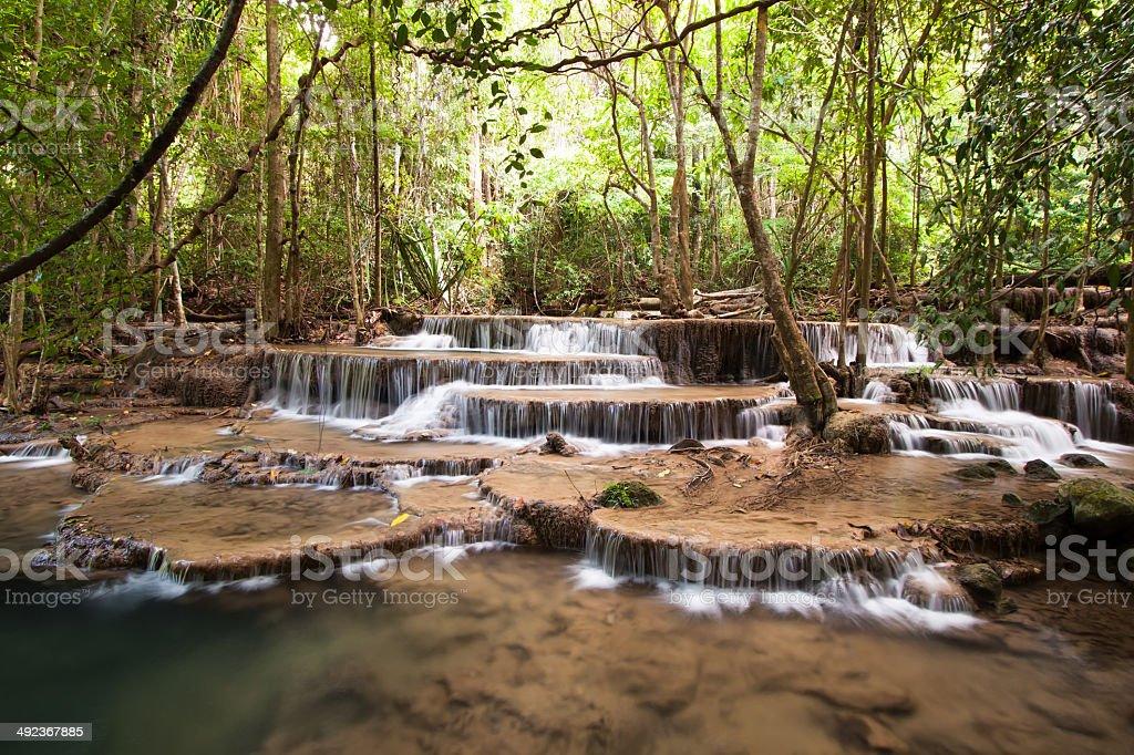 Waterfall in Srinakarin Dam National Park, Kanchanaburi Province, Thailand stock photo