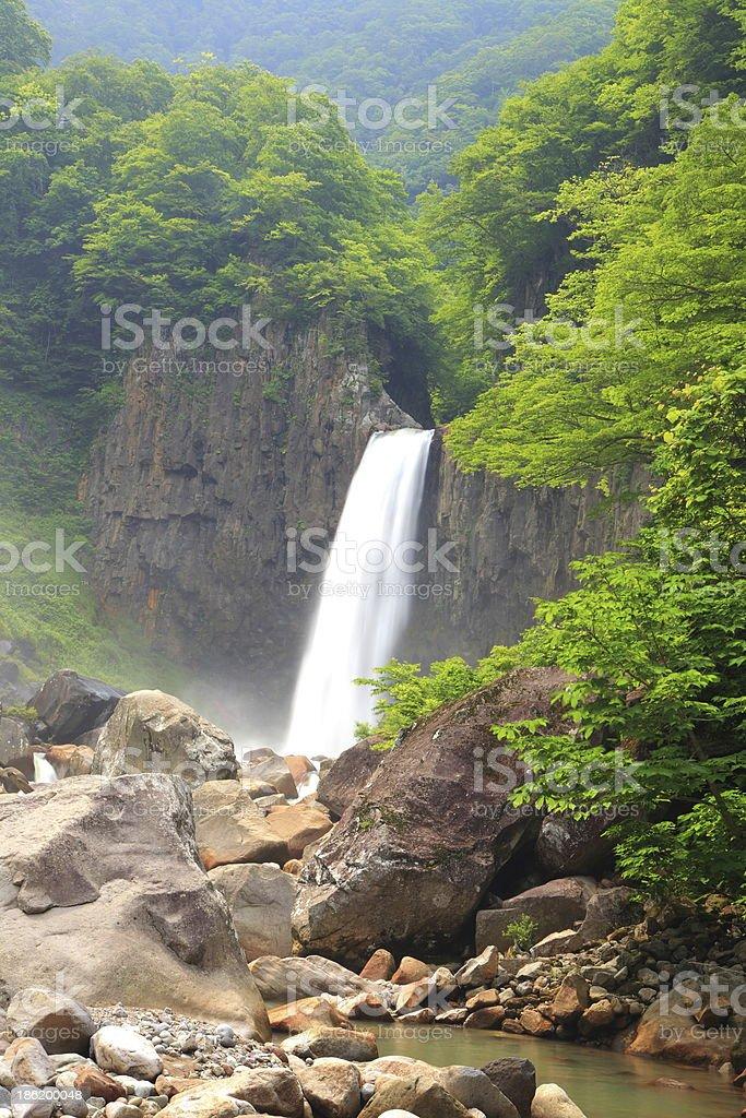 Waterfall in summer stock photo