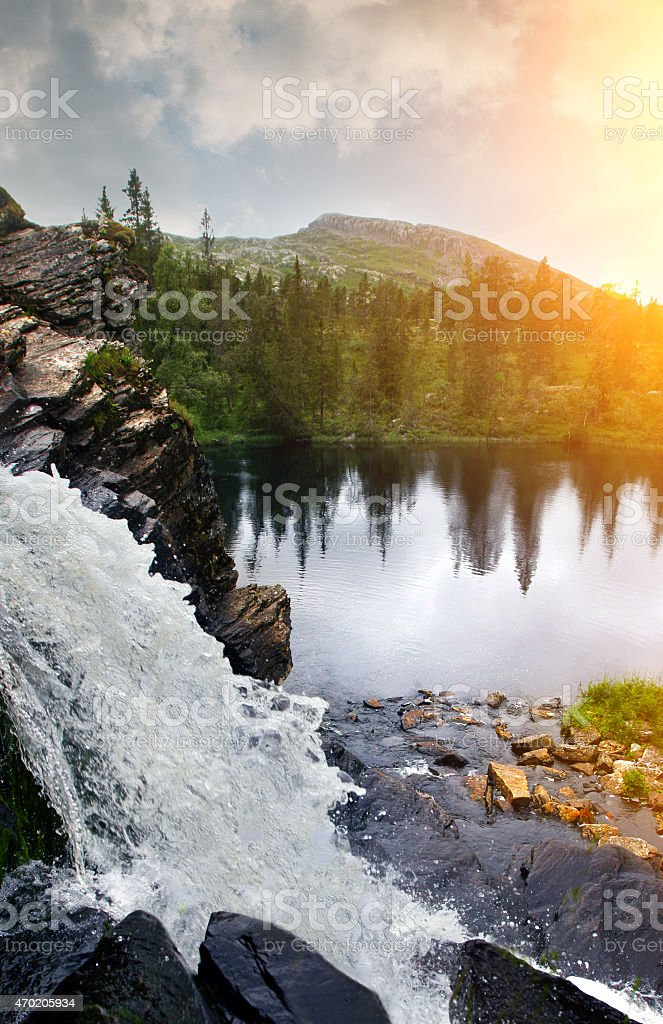 Waterfall in Sweden stock photo