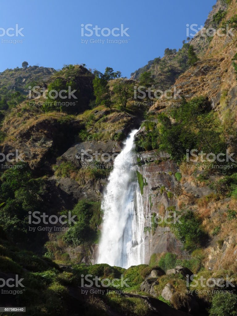 Waterfall in Syange stock photo