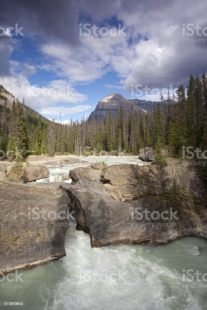 Waterfall in the Canadian Rockies stock photo