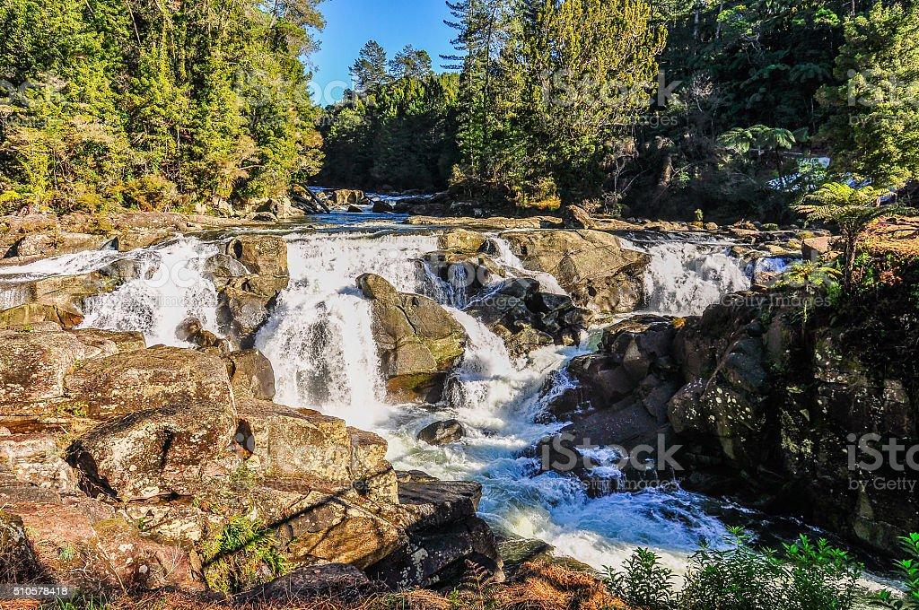 Waterfall in the Coromandel Peninsula, New Zealand stock photo
