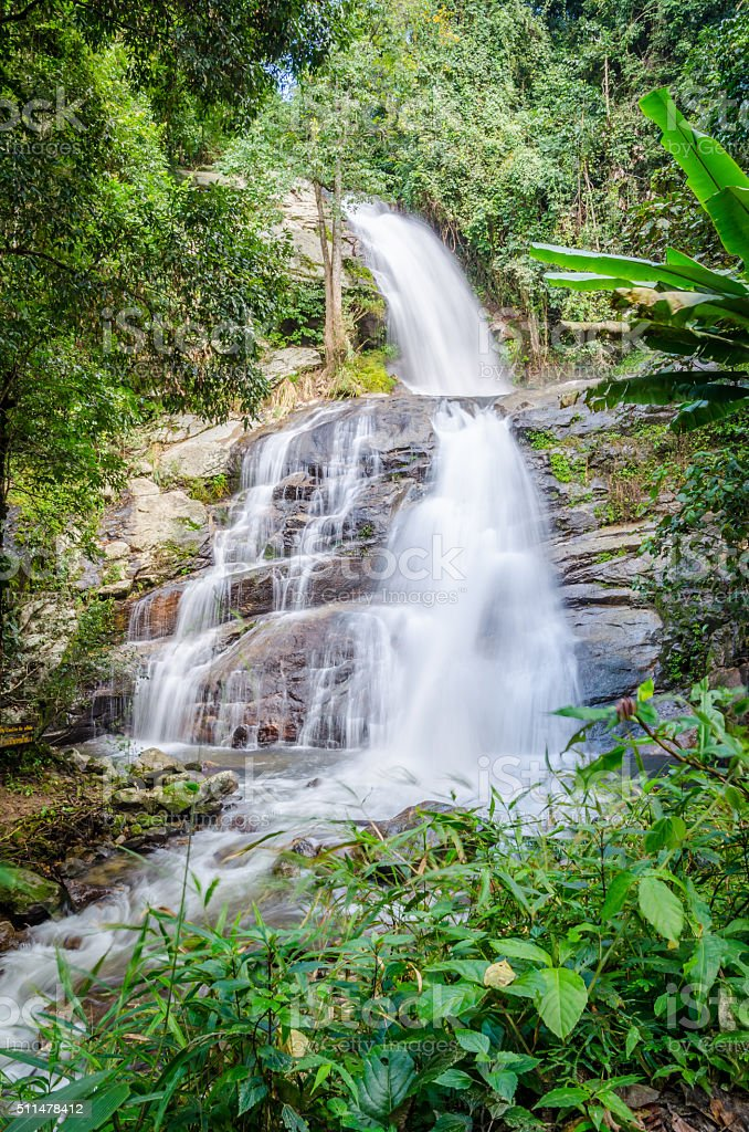 Waterfall in the deep forest , Chiangmai , Thailand stock photo