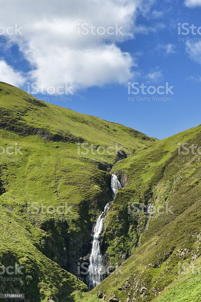 Waterfall in the hills of a rural part of Scotland stock photo