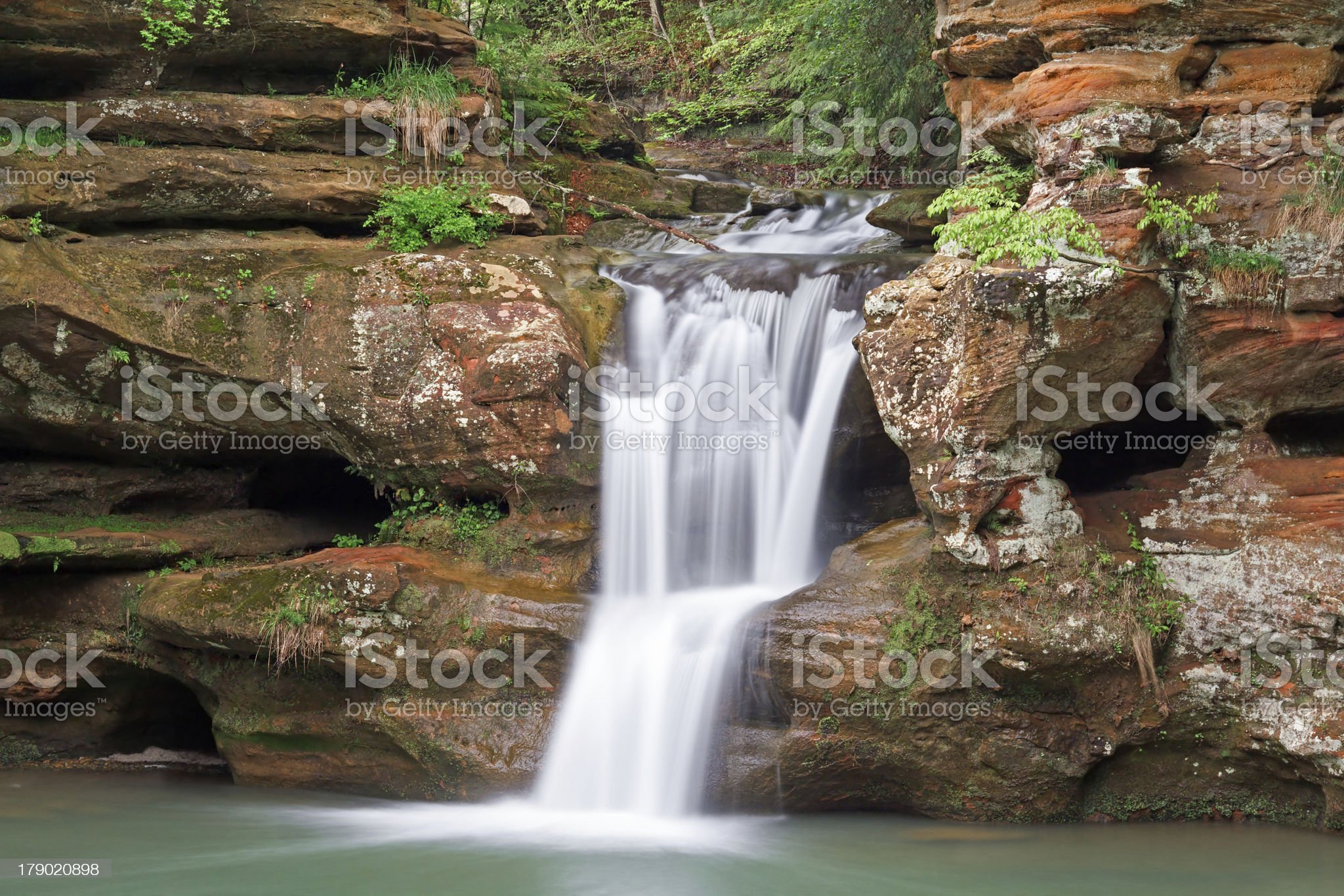 Waterfall in the Hocking Hills of Ohio royalty-free stock photo