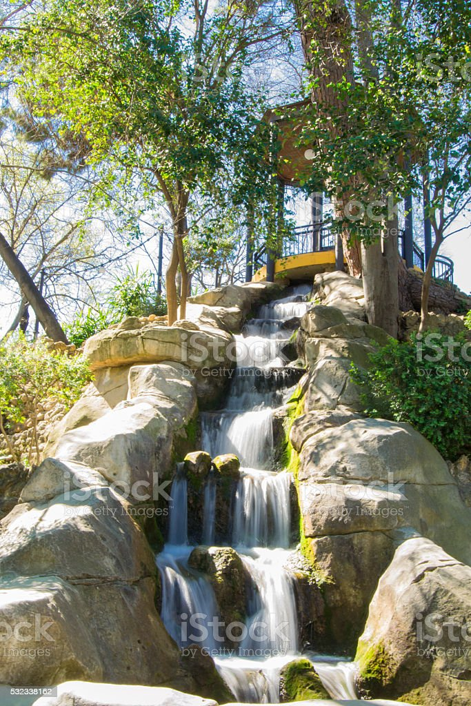 Waterfall in the Maria Luisa park, Seville stock photo