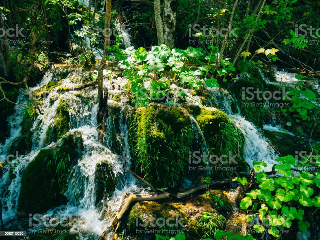 Waterfall in the national park Plitvice Lakes, Croatia. Waterfal stock photo