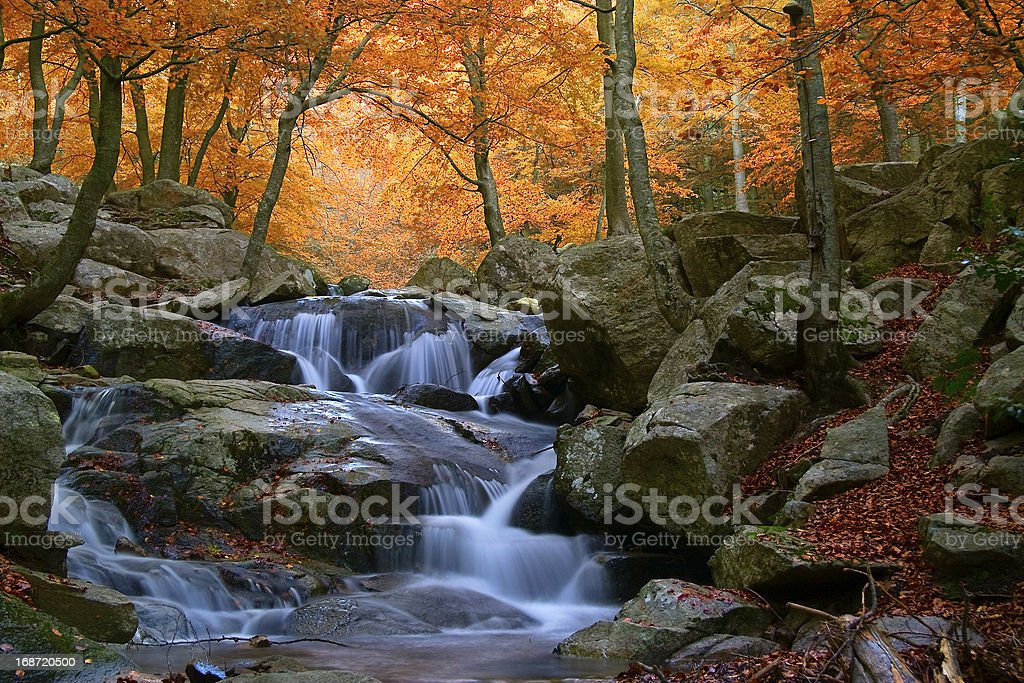 Waterfall in the natural park of Montseny (Barcelona-Spain) royalty-free stock photo