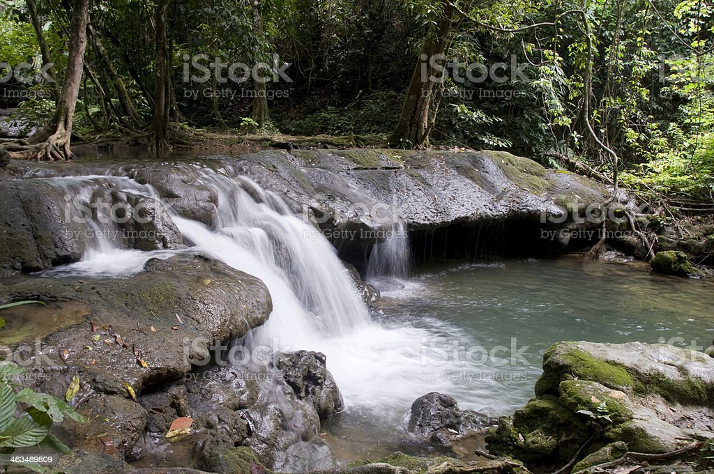 Waterfall In The Rainforest Near Phang Nga, Thailand royalty-free stock photo