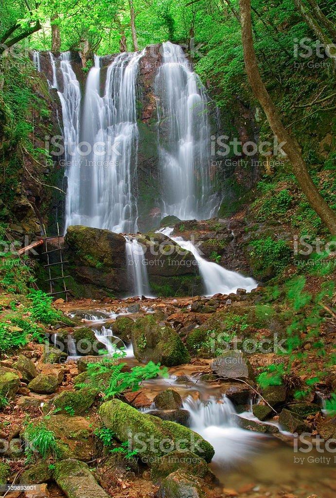 Waterfall in the woods of Kolesino village,  Macedonia royalty-free stock photo