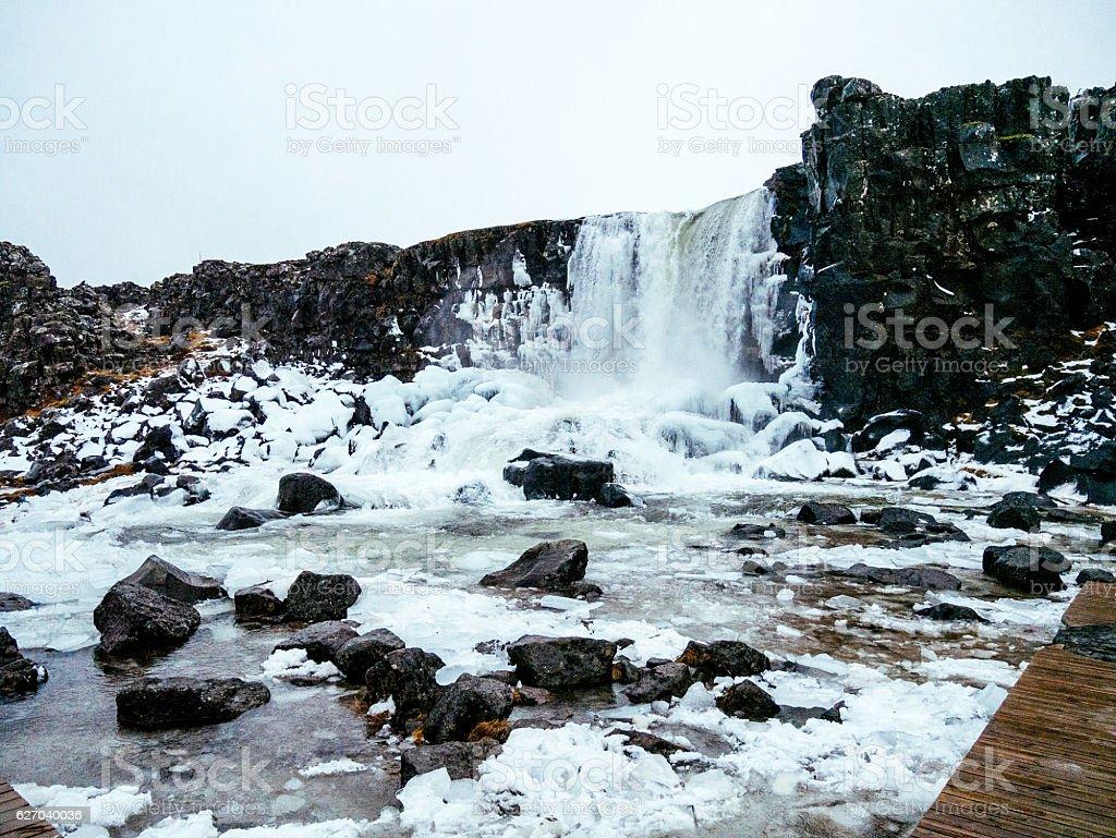 Waterfall in Thingvellir, Iceland in winter stock photo