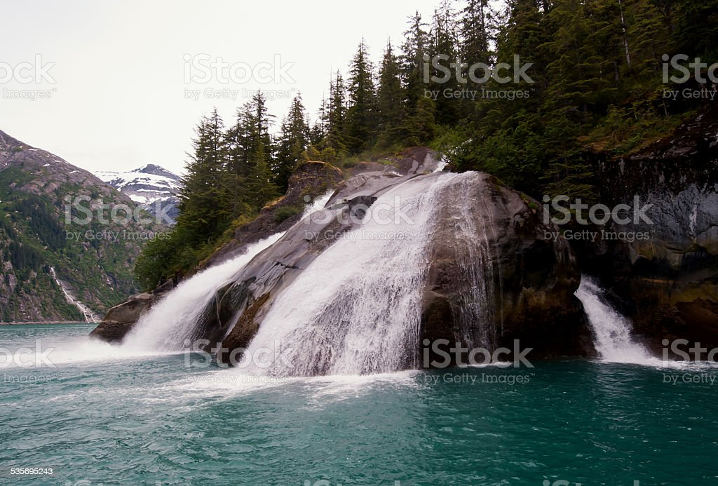 Waterfall in Tracy Arm stock photo