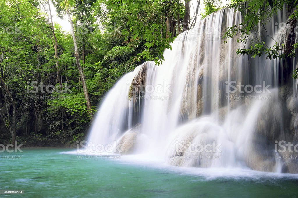 Waterfall in tropical forest of Thailand royalty-free stock photo