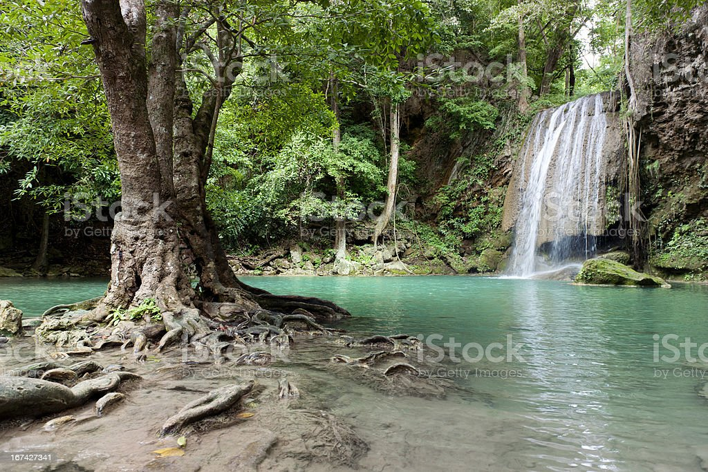 waterfall in tropical rainforest royalty-free stock photo
