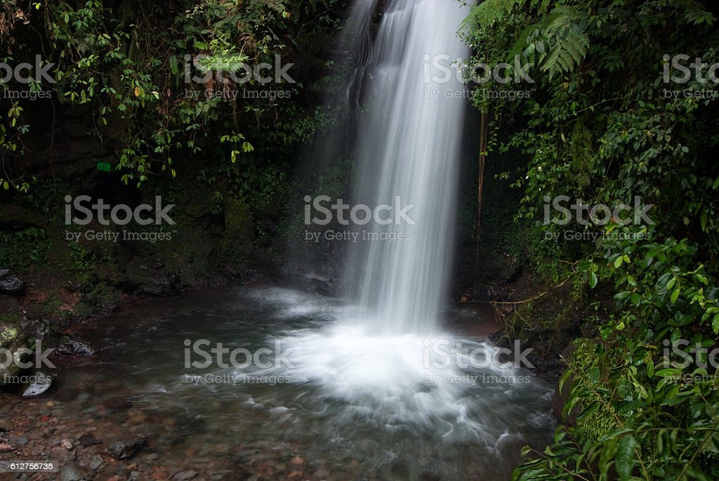 Waterfall in tropical rainforest stock photo