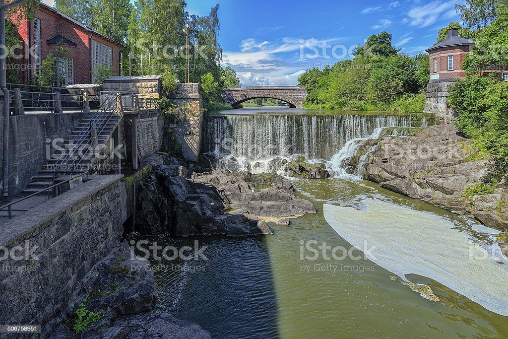 Waterfall in Vanhankaupunginkoski, Helsinki stock photo