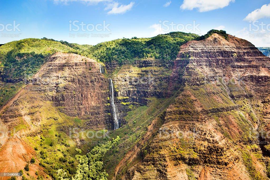 Waterfall in Waimea Canyon Kauai Hawaii stock photo