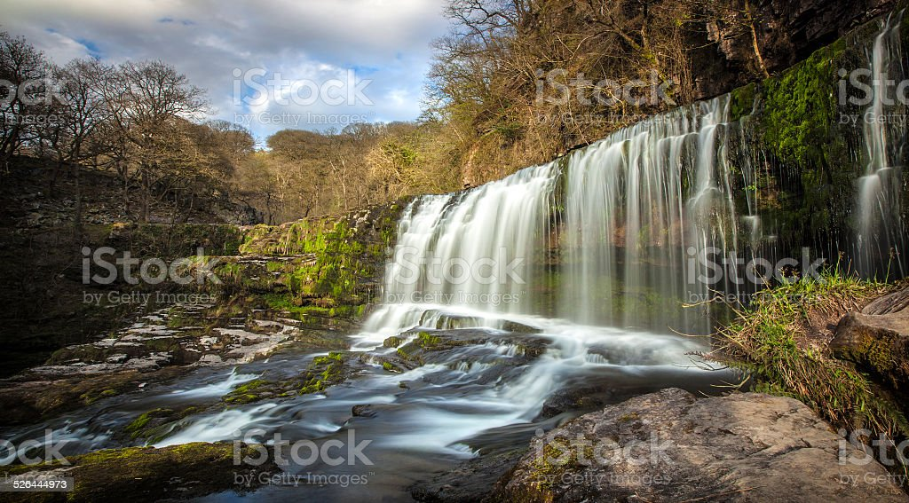 Waterfall in Wales stock photo