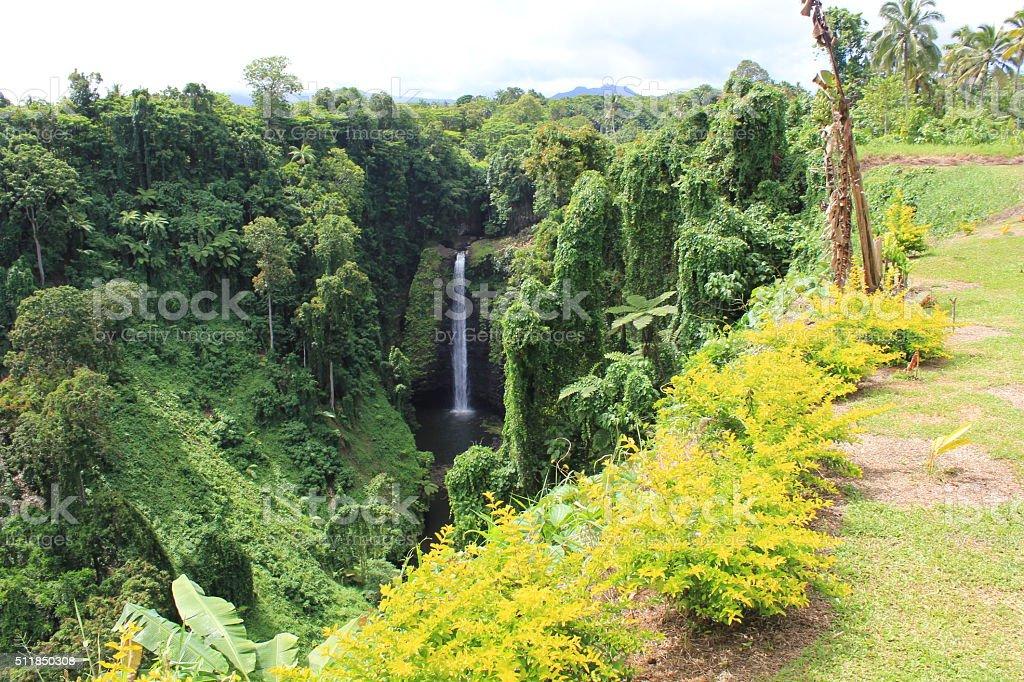 Waterfall in Western Samoa stock photo
