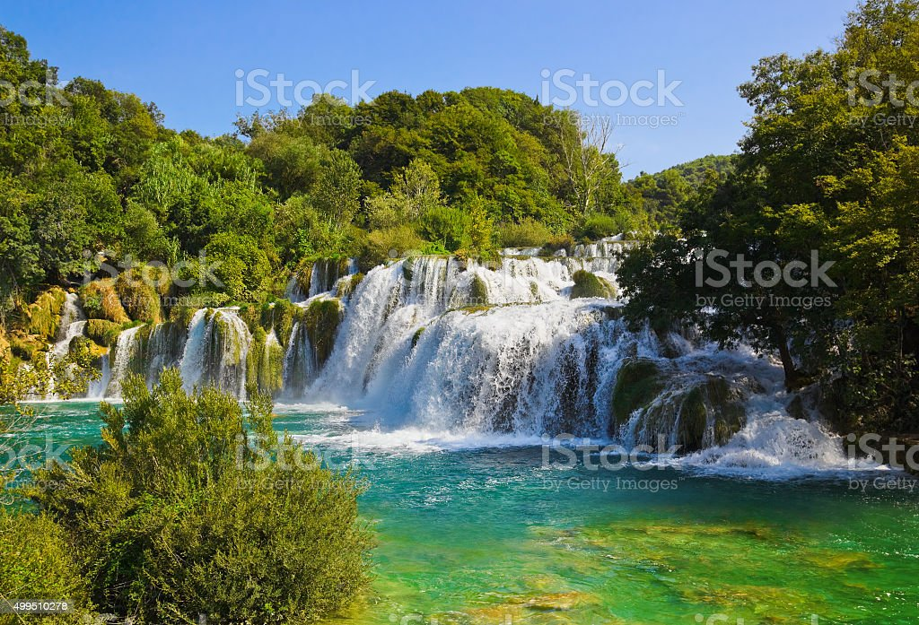Waterfall KRKA in Croatia stock photo
