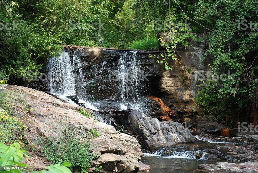 Waterfall, Lake Louise, Asheville, North Carolina stock photo