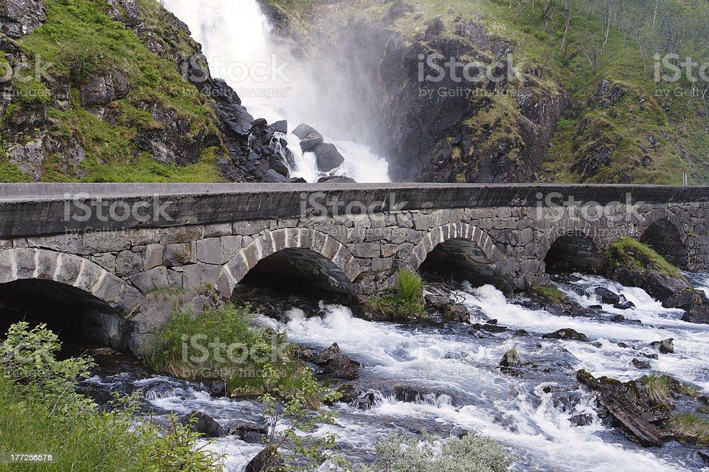 waterfall Lotefossen stock photo