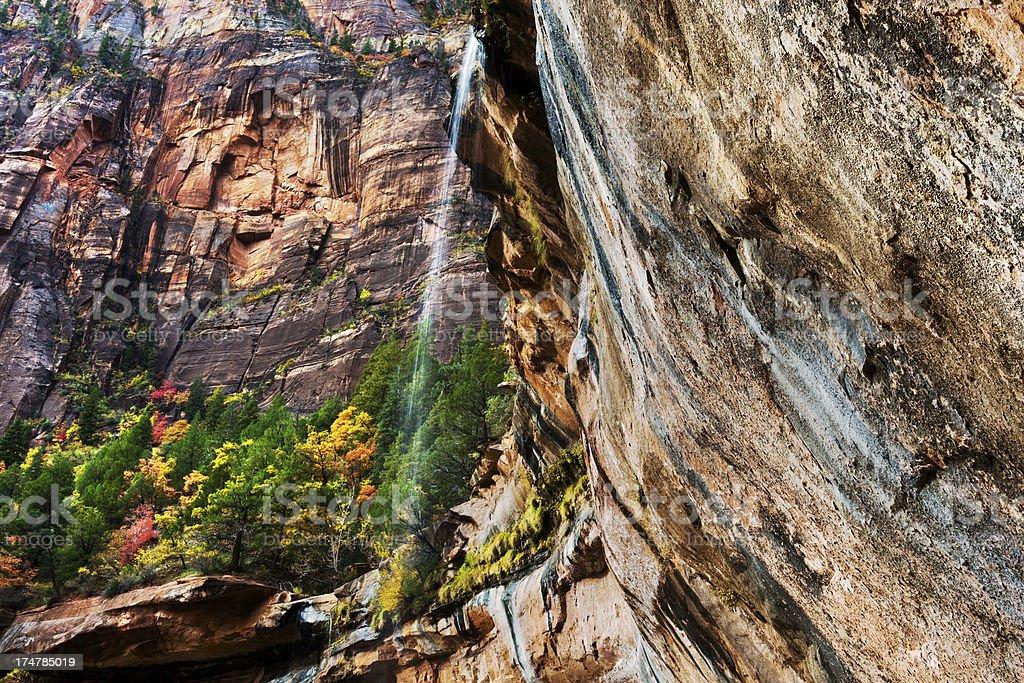 Waterfall, Lower Emerald Pools, Zion National Park, Utah stock photo
