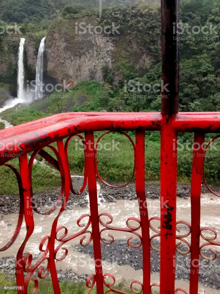 Waterfall Manto de la Novia in Banos de Agua Santa stock photo