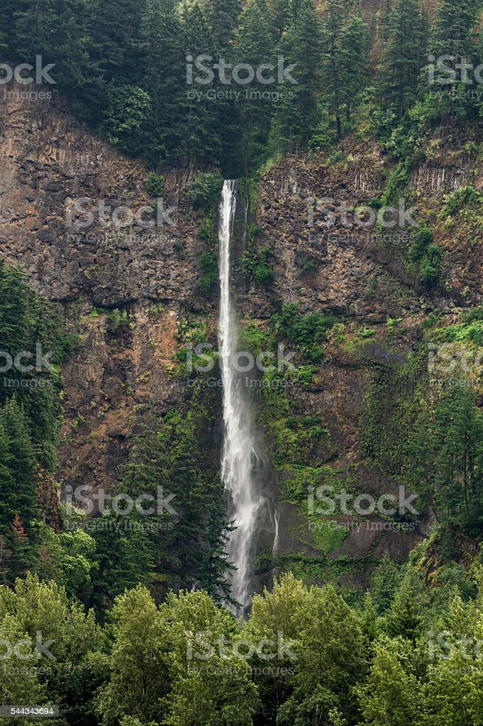 Waterfall Multnomah Falls from on Columbia River Oregon stock photo