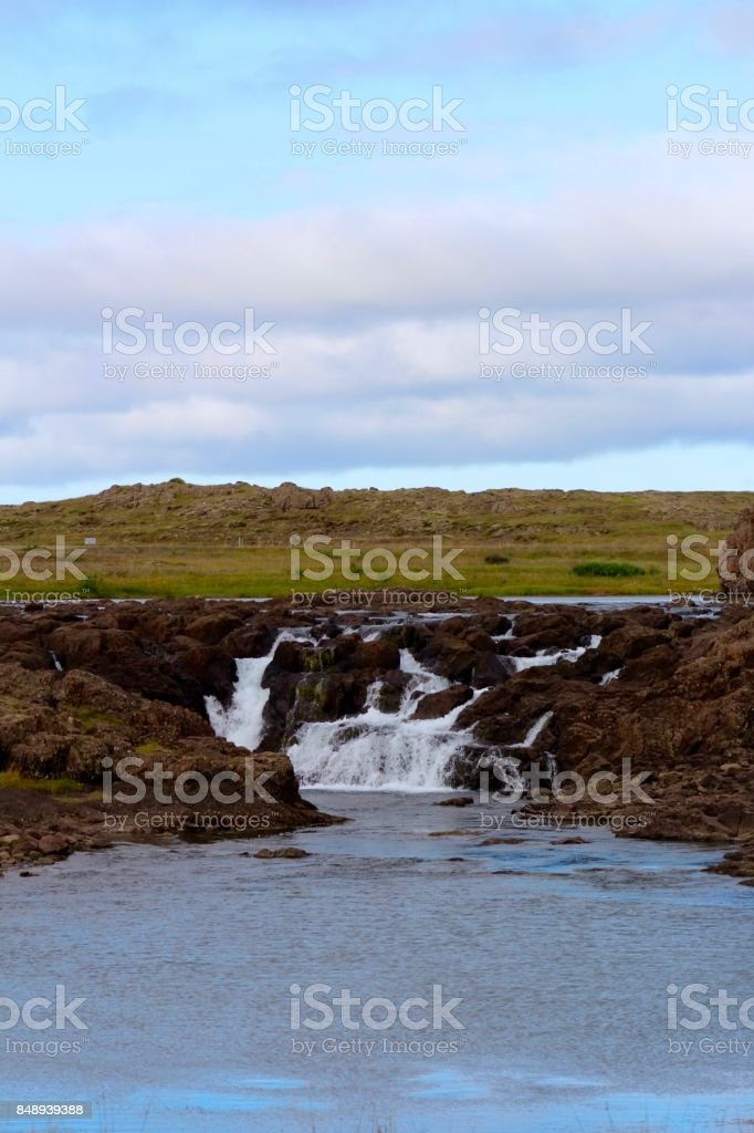 Waterfall near Borgarnes, Iceland. stock photo