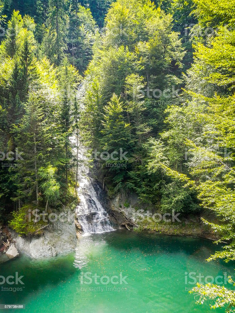 waterfall near vidraru dam arges transfagarasan romania stock photo
