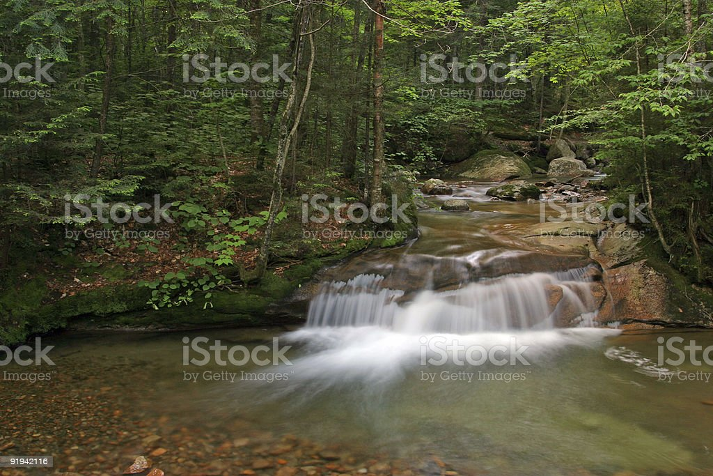 Waterfall New Hampshire White Mountains Franconia Notch Scenic stock photo