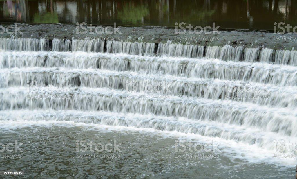 Waterfall of a lake stock photo