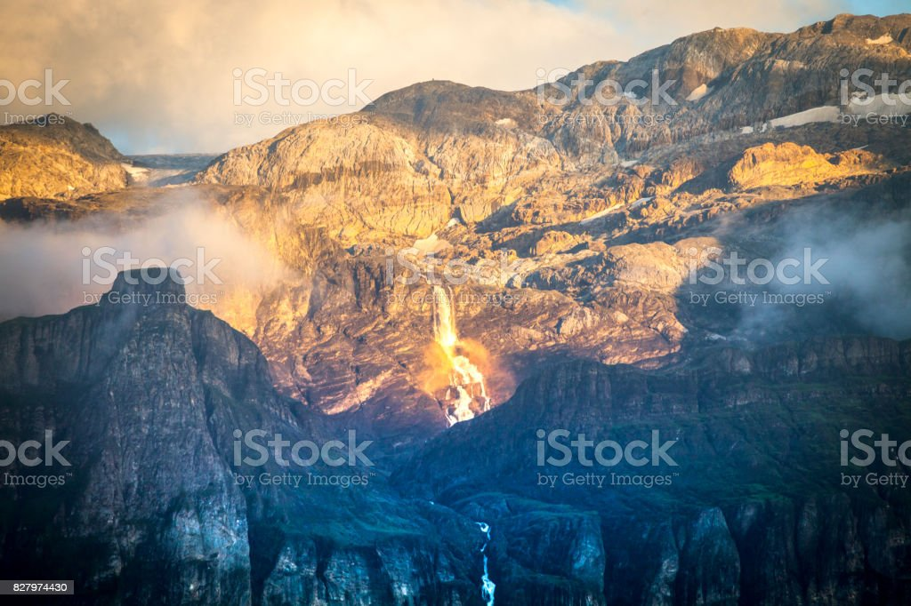 Waterfall of gold at Evening stock photo