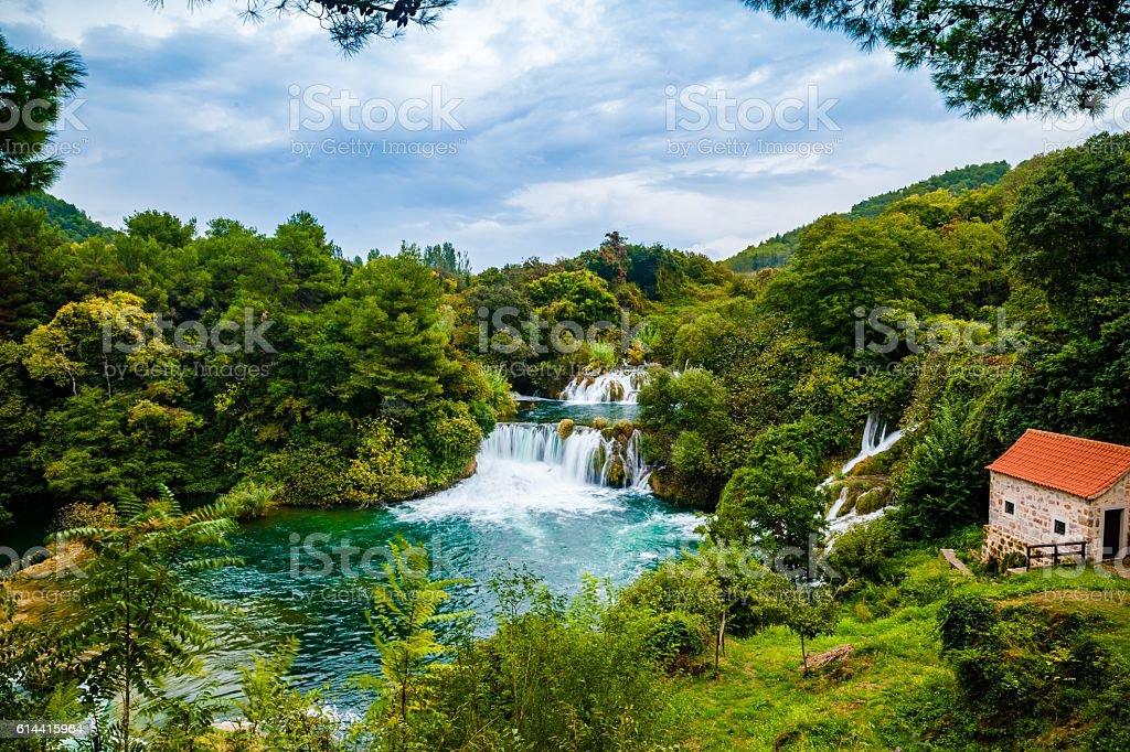 Waterfall of Krka National Park, Croatia stock photo