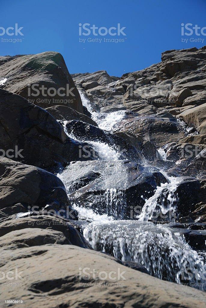 Waterfall of mountain Taillon. stock photo