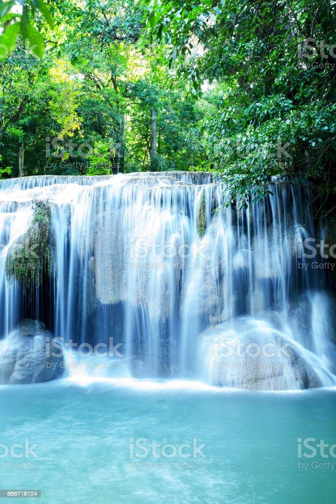 Waterfall of national park Erawan stock photo