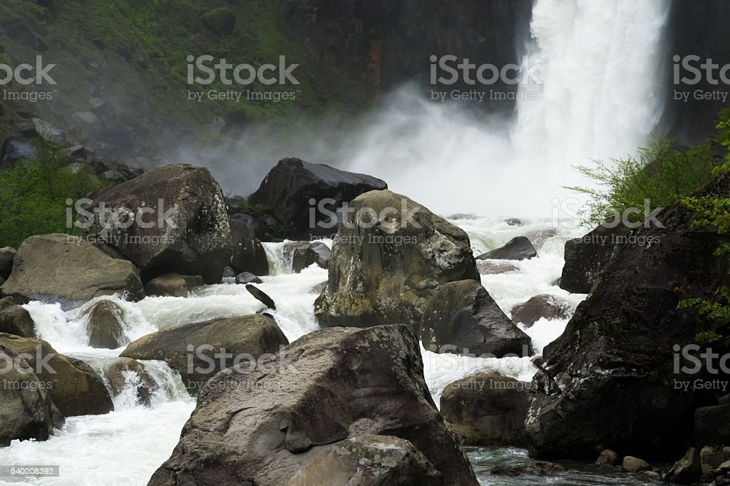 Waterfall of spring stock photo