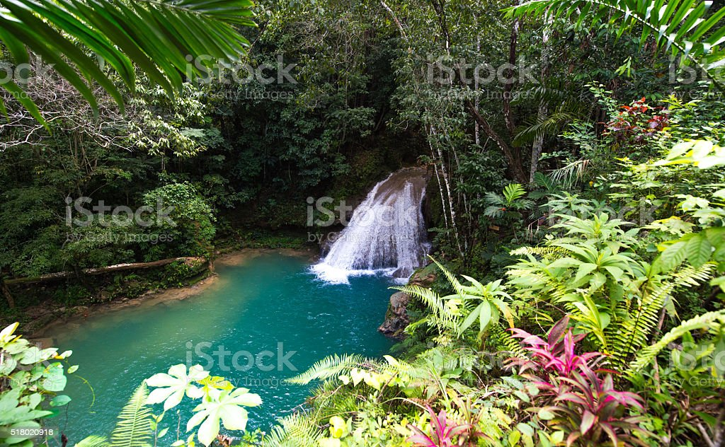 Waterfall of the Blue Hole, Jamaica stock photo