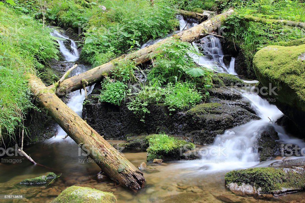 Waterfall of the valley of Munster stock photo