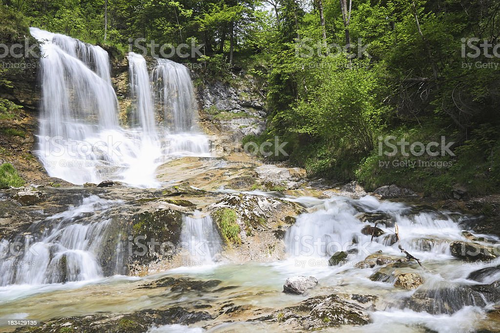 Waterfall of the Weissbach near Inzell stock photo