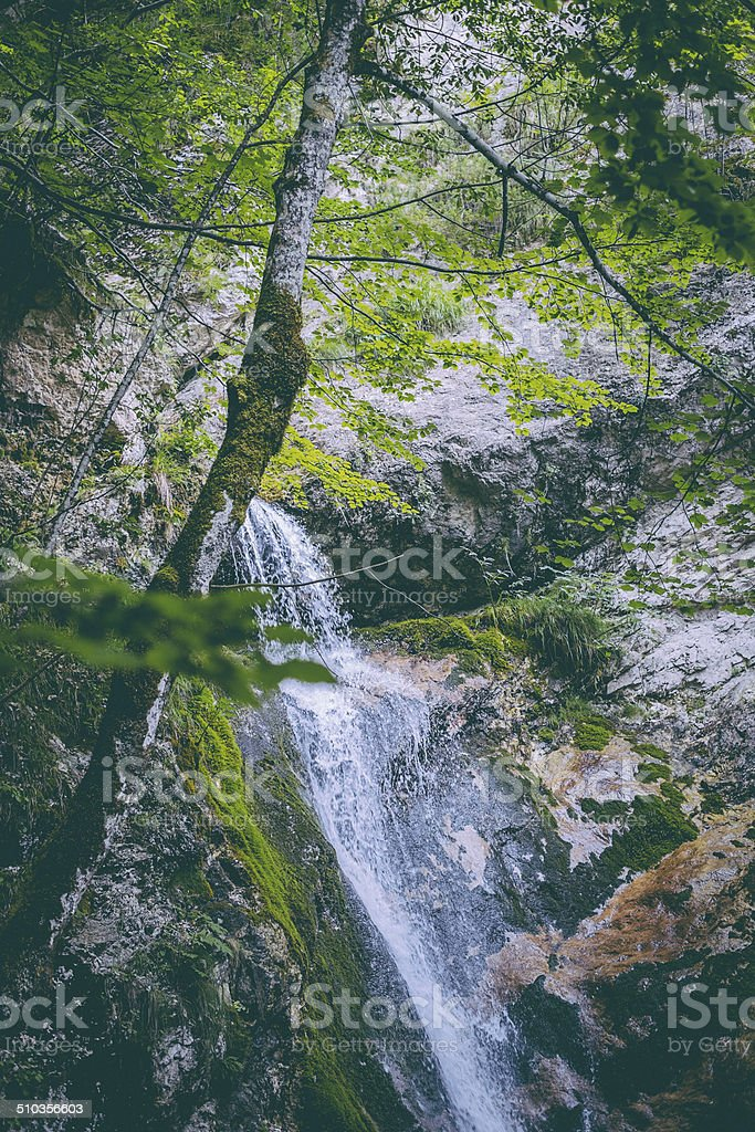 Waterfall of Tre Cannelle at Camosciara stock photo
