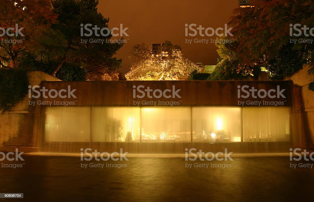 Waterfall Office at Night royalty-free stock photo
