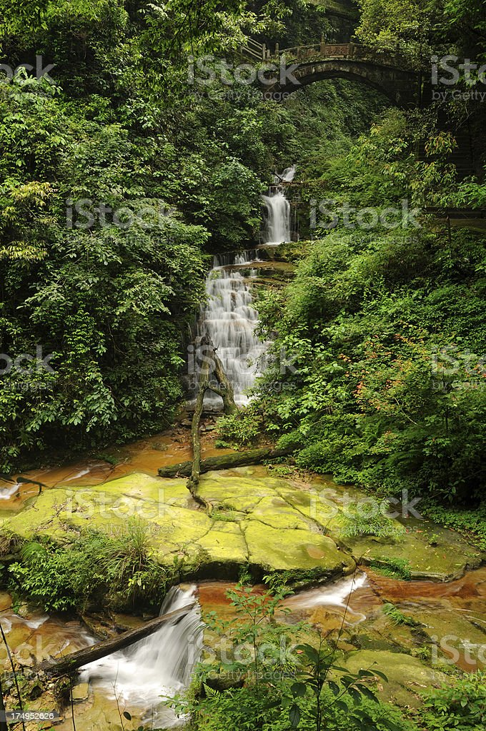 Waterfall on Golden Whip Stream in China stock photo