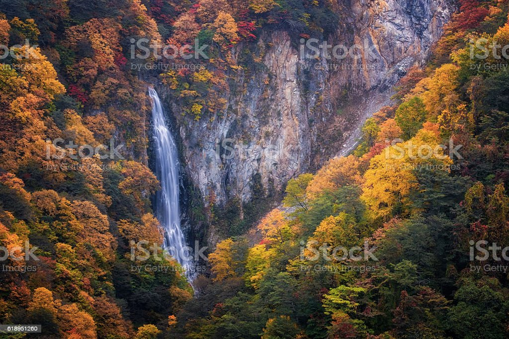 Waterfall on hill stock photo