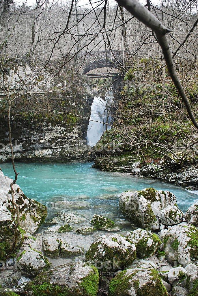 Waterfall on Kozjak River royalty-free stock photo